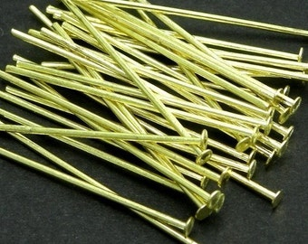 Raw Brass Head Pins 1.25 Inch 21 Gauge (100) FI778