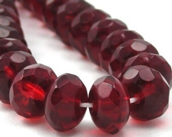 Czech Glass Beads Fire Polished Gemstone Donuts 9x6mm Siam Ruby (25) CZF110