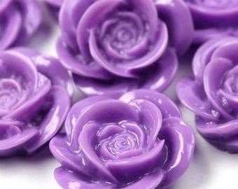Rose Flower Cabochon Plastic 20mm Purple (6)  PC176