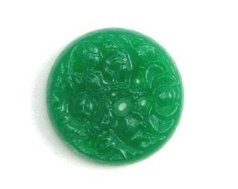 Vintage Glass Cabochon Floral 15mm Jade Green (4) VGC111