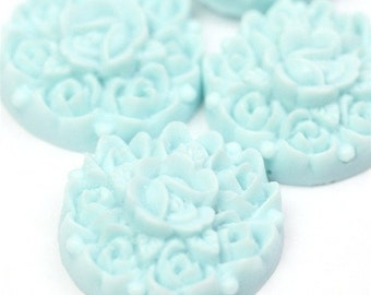Flower Cluster Cabochon Plastic 17mm Light Blue (6) PC134 CLEARANCE SALE 50% OFF