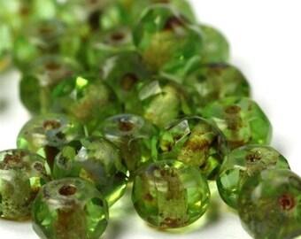Czech Glass Beads Fire Polished Gemstone Donuts 4x6mm Peridot Picasso (25) CZF241