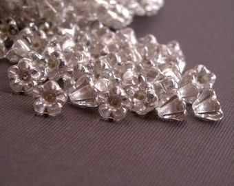 Czech Glass Beads Baby Bell Flowers 4x6mm Silver Lined Crystal (50) CZP185