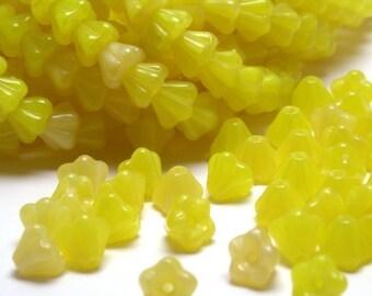 Czech Glass Beads Baby Bell Flowers 4x6mm Coral Lemon (50) CZP151