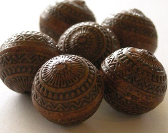 15mm Ornate Etched Boho Antiqued Brown Beads (6) PB012