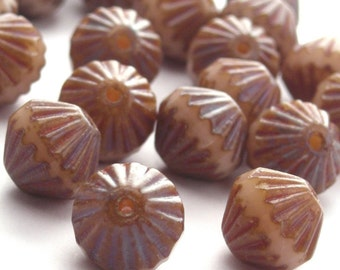 Czech Glass Fluted Firepolish 9mm Beads- Beige Picasso (204 pieces) Bulk Wholesale CZF001