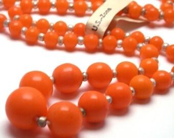 Vintage German Glass Graduated Beads 1 Strand Orange VGB30