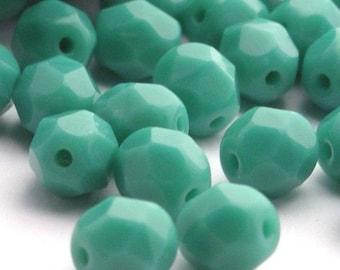 Czech Glass Beads Fire Polished 6mm Opaque Turquoise (25) CZF072