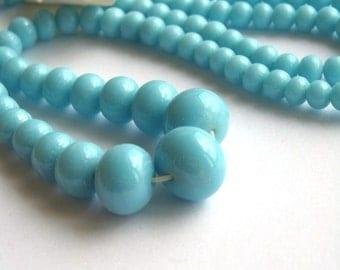 Vintage Japanese Light Blue Graduated Glass Beads 1 Strand VGB31