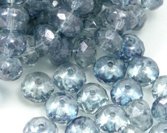 Czech Glass Beads Fire Polished Gemstone Donuts 7x5mm Luster Transparent Blue (25) CZF104