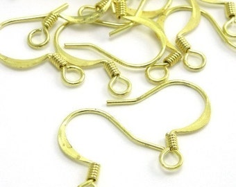 Raw Brass Flattened French Hook Ear Wire (24) FI165