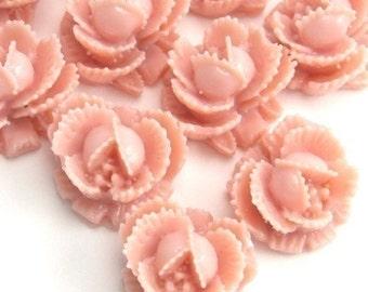 Flower Cabochons Plastic Ruffled Rose 11mm Vintage Rose (6) PC128