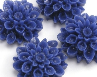 Dahlia Flower Plastic Cabochons Royal Blue 18mm (4) PC130 20% OFF CLEARANCE SALE