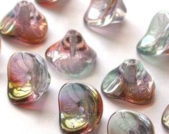 Czech Glass Beads 3 Petal Flower Beads 10x12mm Luster Pink/Crystal (12) CZP011