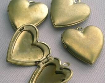Vintage Raw Brass Lockets 18x19mm Plain Heart (4) BLH9