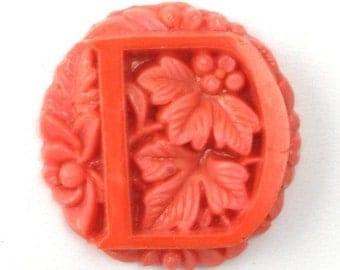 Vintage Glass Floral Initial Cabochon 25mm Coral Letter D (1) VGC091