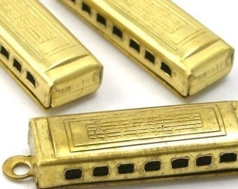 Raw Brass Harmonica Charms Music Instrument (4) CP013