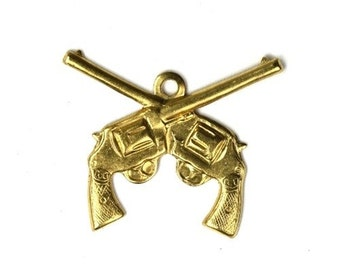 Crossed Guns Stampings Charms 22mm Raw Brass (6) CP073