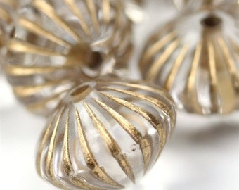 Plastic Beads Ribbed Bicone 15x10mm Crystal / Gold (8) PB049