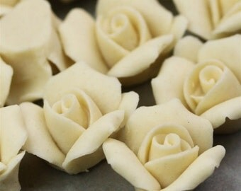 Rose Flower Cabochons - Ceramic 11mm Ivory (4) cc002