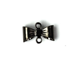 Bow Connector Stamping Charms Small Gunmetal (6) CP091