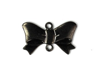 Bow Link Charms 16x10mm Pendant Ribbon Gunmetal (3) CP092
