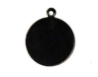 Blank Circle Tab Charms Medium Gunmetal (8) CP100
