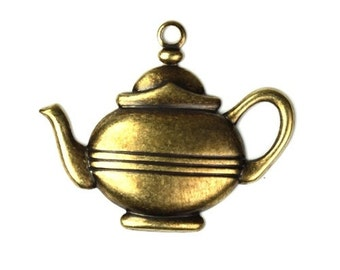 Tea Pot Stamping Charms Pendant Coffee Kettle Brass Ox (4) CP102