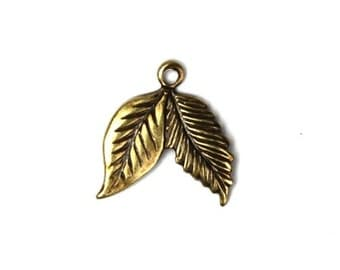 Double Leaf Stamping Charms - Small Brass Ox (6) CP115
