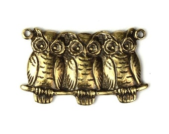 Three Owls 2 Loops Charms or Pendants Brass Ox Birds (3) CP120