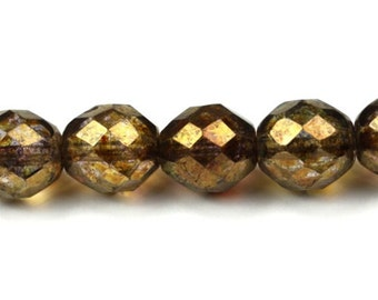 Czech Glass Beads Fire Polished Faceted Rounds 10mm Luster Transparent Gold Smokey Topaz (25) CZF275