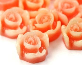 Plastic Flower Cabochons - Rose 8mm Orange and Ivory (6) PC233