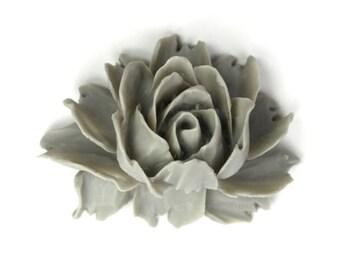 Plastic Flower Cabochons Rose Large Matte Cool Gray 43x32mm (10) PC242BULK WHOLESALE BULK