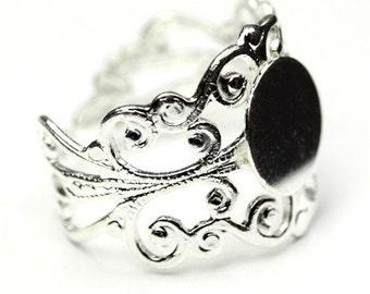 "Ornate Filigree Ring Blank 3/8"" Blank Pad Silver Plated (1) FI504"