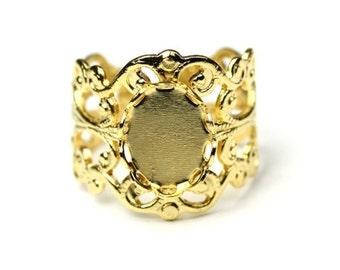 Ornate Filigree Ring Blank 10x8mm Setting Gold Plated (1) FI513
