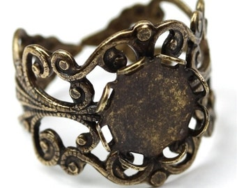 Ornate Filigree Ring Blank 10mm Setting Antique Brass Plated (1) FI526
