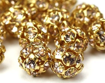 Czech Crystal Rhinestone Balls 6mm Gold Lt. Rosaline (2) CZM044