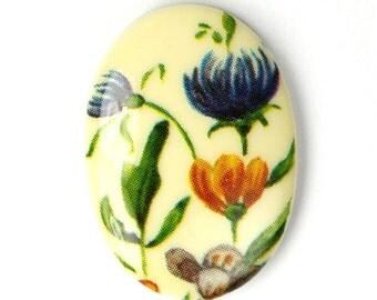 Vintage Plastic Floral Cameos 25x18mm Wildflowers (2) VIC236
