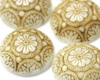 Glass Cabochons Ornate Floral 14mm Beige on White (2) GC005