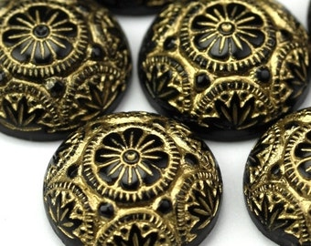 Glass Cabochons Ornate Floral 14mm Gold on Black (2) GC007