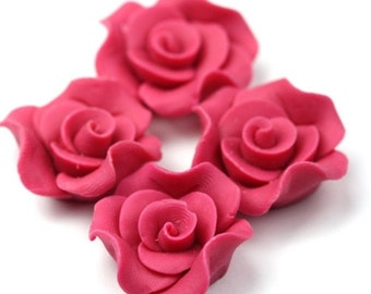 Polymer Clay Flower Cabochons Raspberry Pink 24mm (2) PC249