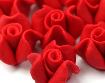 Polymer Clay Flower Cabochons Red 14mm (2) PC252