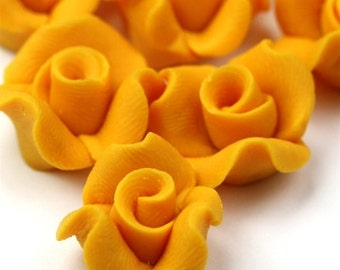 Polymer Clay Flower Cabochons Yellow 14mm (2) PC253