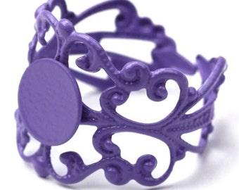 Adjustable Filigree Ring Blank 8mm Blank Pad Purple Enameled Brass (3) FI542