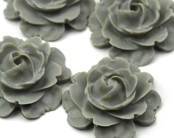 Plastic Flower Cabochons Matte Gray 23mm (2) PC274
