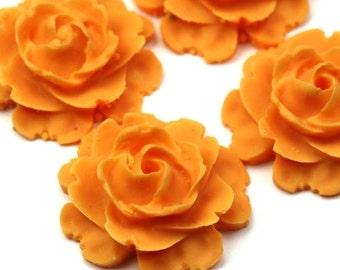 Plastic Flower Cabochons Matte Orange 23mm (2) PC278