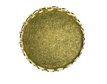 Cameo or Cabochon Settings Raw Brass Round Lace Edge 23mm (6) FI586