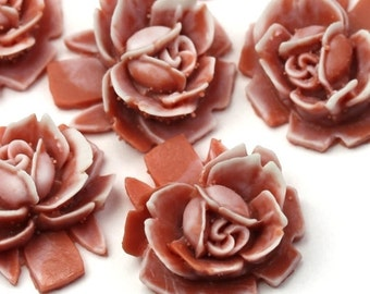 Vintage Style Resin Rose Cabochons 18mm Light Brown and White (4) PC286