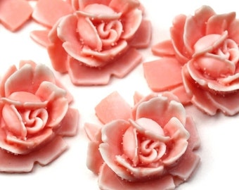 Vintage Style Resin Rose Cabochons 18mm Peach and White (4) PC287
