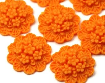 Plastic Flower Cabochons Scalloped Clusters 20mm Matte Orange (3) PC304